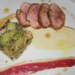 Carmelized duck breast with crushed cauliflower, Medjool dates and olives with a cumin emulsion