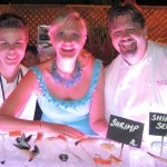 Bouchon Beverly Hills chef de cuisine Rory Herrmann and sous-chef Katie Hagan-Whelchel with Sophie Gayot