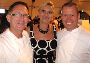 Chef Walter Manzke with Sophie Gayot and chef Mark Peel (left)