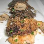Pan seared sweetbread with summer English pea potage, Washington state morels, pommes de terre au lard truffé