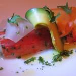 King crab with avocado, papaya and heart of palm