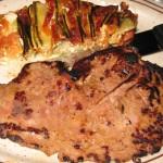 Calf liver with zucchini and tomato gratin