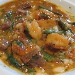 Jumbo gulf shrimp and okra stew with San Marzano tomatoes and spicy pork sausage