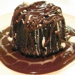 Chocolate bundt cake filled with warm chocolate ganache