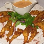 Dancing crabfingers served with spicy chili dipping sauce