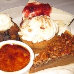 Crème brûlée; bread pudding; white chocolate cheesecake; pumpkin cupcake; and sweet potato pecan pie