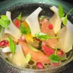 Artichokes & citrus with orange blossom dressing and pomegranate