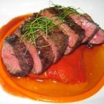 Beef hanger steak, piquillo pepper confit, natural jus