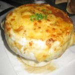 Onion soup with melted gruyère