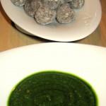 Papas Canarias: salty wrinkled potatoes, mojo verdé