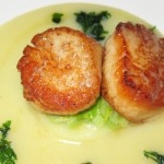 Sautéed Maine scallops with Yukon gold potatoes, diced leeks and smoked potato leek chowder