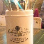 The silverware are presented on the table in a mug