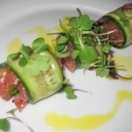 Tuna tartare with blue ginger, mustard seed, mustard oil, cilantro, scallion, plum leaf and plum wine