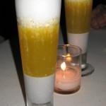 Le Noir: black sesame pudding with Grey Goose Le Orange and passion fruit-coconut foam