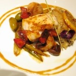 Monkfish marinated with lemon and olives, served with mashed potatoes