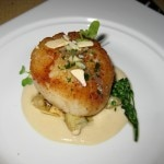 Roasted sea scallops on a bed of cauliflower purée, topped with toasted almonds