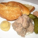 Duck confit rillettes with pickles and toast