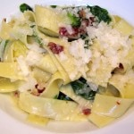 Hand-cut tagliatelle with pea leaves, artichokes, pancetta, Meyer lemon and parmesan