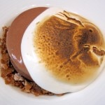 Valrhona chocolate marquise with hazelnut, marshmallow and chocolate sorbet