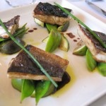 Mediterranean branzino glazed with fig and 18 year balsamic vinegar, served with snow peas, figs and Koroneiki olive oil