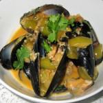 Baja mussels: chipotle, tomatillo, cilantro and Tequila