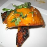 Black cod: miso anticucho and crispy sweet potato