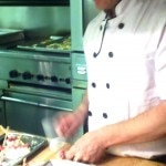 Chef Finkelstein preparing musk ox quaq