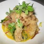 Ceviche crocante: halibut, leche de tigre and crispy calamari