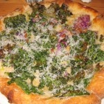 Bloomsdale spinach pizza: crispy purple kale, young pecorino, cracked black peppercorn and organic extra virgin olive oil