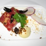 Lamb belly with cured olive