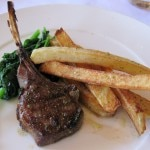 Lamb chop: French fries and asparagus