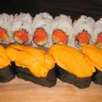 Spicy tuna & tempura flakes with cucumber and uni (sea urchin)