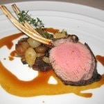 Roasted Colorado lamb rack: Swiss chard, caramelized cipollini and thyme jus