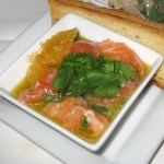 Salmon ceviche: orange, grapefruit, lemon and cilantro
