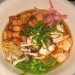 Spicy shrimp and Asian noodles with shaved vegetable, mushroom, tofu and savory broth