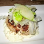 Crab cake with celery-apple remoulade, salad of celery and apple