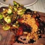 BBQ quail with espresso rub, parsnips, Brussels sprouts and hazelnuts