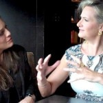 Carrie McCully with Sophie Gayot during the interview at Wilshire restaurant in Los Angeles