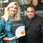 "Chef Josiah Citrin with his cookbook ""In Pursuit of Excellence"" and Sophie Gayot"