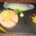 Foie gras terrine, saffron lebne, green plum and pistachio