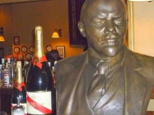 A bust of Lenin on the bar at Pravda in Wellington, New Zealand