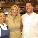 Pastry chef Morgan Bordenave, Sophie Gayot, chef Micah Wexler of MEZZE restaurant