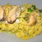 Tagliolini, smoked sablefish, mussels and green chili