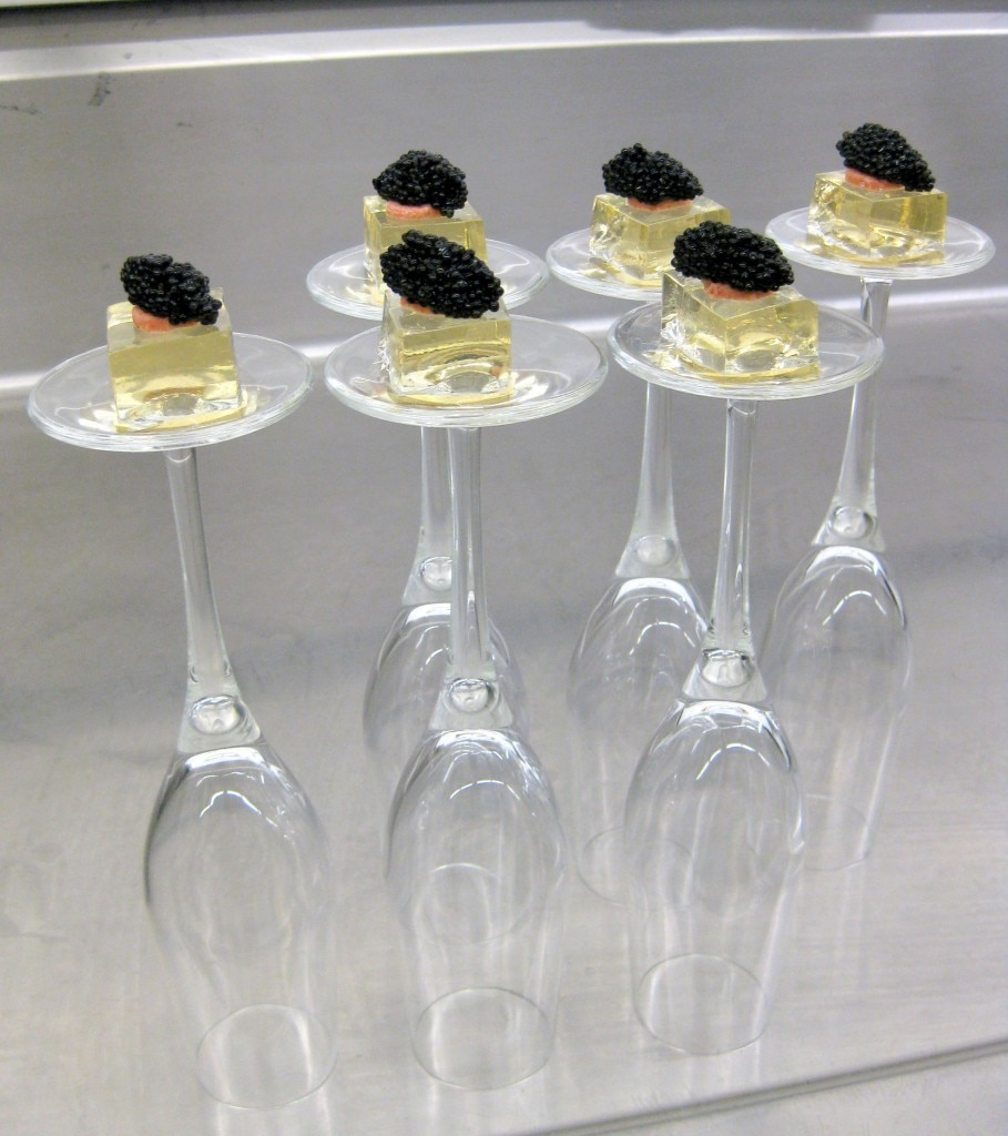 Champagne & caviar, strawberry-white chocolate fizzy