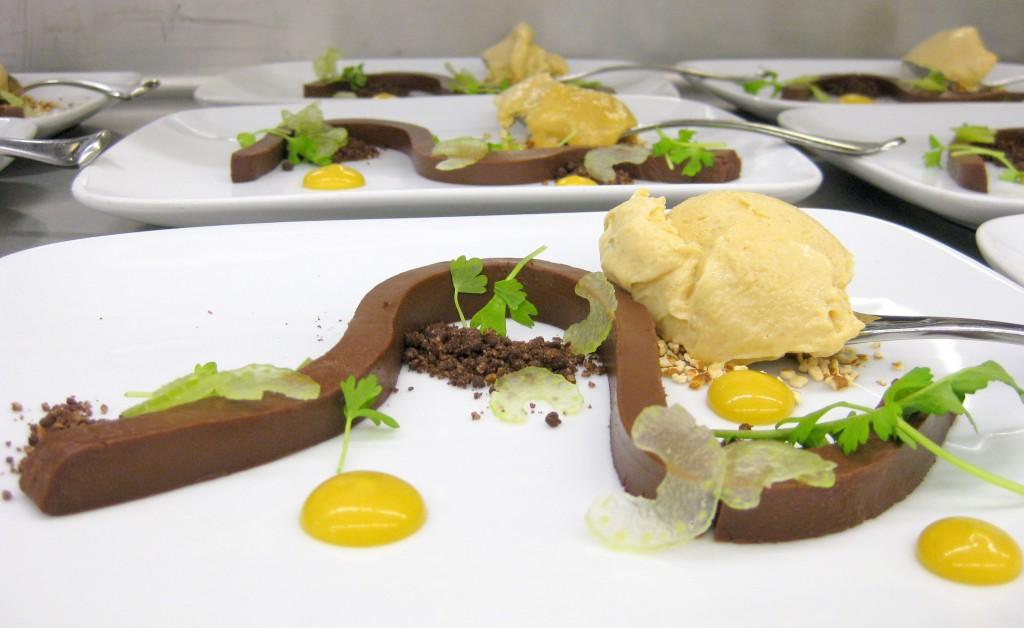 Chocolate: banana emulsion, chewy peanut butter ice cream, iced celery, pretzel