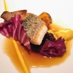 "Wild Loup de Mer ""En Ecailles"" with salsify, matsutake mushrooms, roasted onion and matsutake brown butter broth"