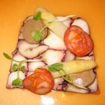Octopus mosaic: squid ink noodle, tomato dashi, eggplant, white asparagus, chorizo