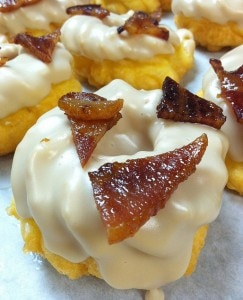 Vermont maple-glazed French cruller with candied bacon