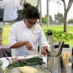 Nyesha Harrington chopping her produce