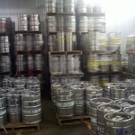 Kegs of Ballast Point beer in the massive refrigeration room
